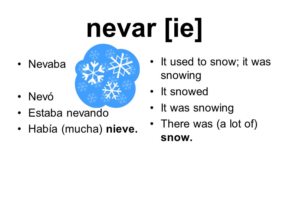 nevar [ie] It used to snow; it was snowing Nevaba It snowed Nevó